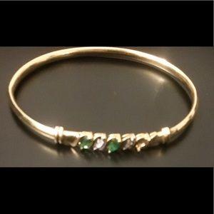Jewelry - Antique 14k bangle with diamonds & emeralds